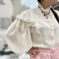 80s see-through frill blouse