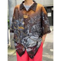 Chinese pattern S/S mesh shirt