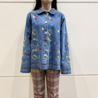 90s〜flower embroidery denim shirt