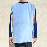 old multi-color velour L/S cut & sew
