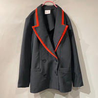 80s bi-color design double breasted jacket