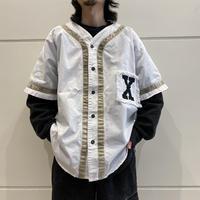 "90s  ""MACHINE GUN"" design baseball shirt"