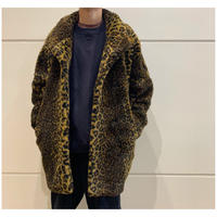 80s faux fur leopard pattarn coat