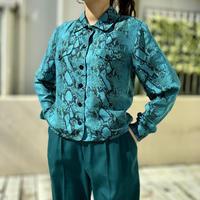 90s python patterned silk shirt jacket