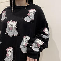 80s cat printed sweat shirt