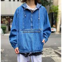 90s half zip denim pullover jacket