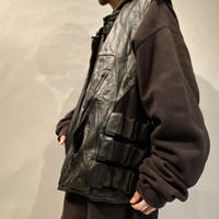 90s〜oversized leather motorcycle vest