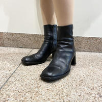 Square toe leather heel boots