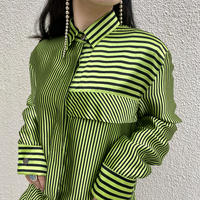 90s~ striped silk shirt