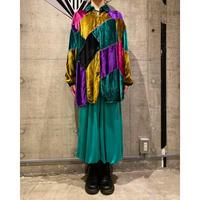 80s〜 crazy pattern velours design shirt