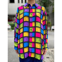 colorful checked L/S silk shirt