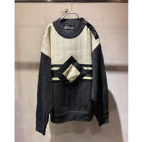leather × knit design pullover(WHT)
