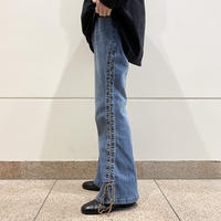 90s lace-up design flare pants