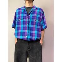 90年代 コットンチェックオープンカラーシャツ
