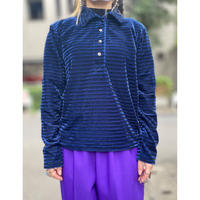shiny striped velours polo shirt