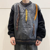 80s leather switching knit sweater