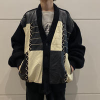 80s leather × knit switching design cardigan