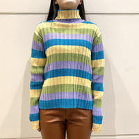 90s~ striped turtle neck knit sweater