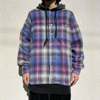 90s hooded flannel check shirt