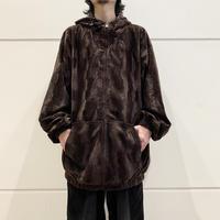 90s~ oversized velours zip up blouson
