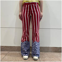 70s the Stars and Strpes pattern fleare pants