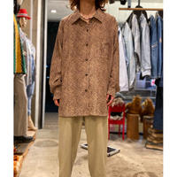 90s oversized leopard patterned shirt (BEG)