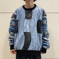 80s leather × knit switching design sweater