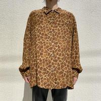 80s〜L/S rayon giraffe patterned shirt