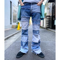 patchworked flare denim pants