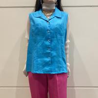 00s~ no-sleeve linen shirt