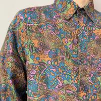 90年代 シルク総柄シャツ