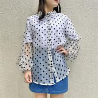 balloon sleeves  see-through shirt