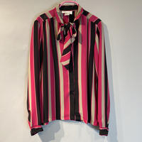 old open collar ribbon tie blouse