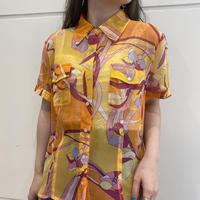 90s flower patterned sheer shirt