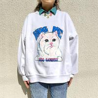 80s~ cat printed sweat shirt