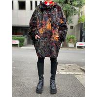 old all pattern fake fur long coat