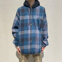 90s~ hooded flannel check shirt