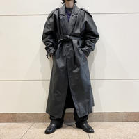 80s〜oversized leather trench coat