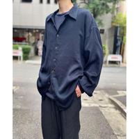 90s L/S rayon blend shirt (BLK×BLU)