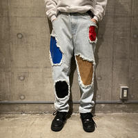90s leather switching design denim pants
