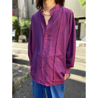 90s L/S shiny band collar shirt