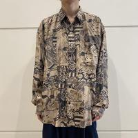 "90s ""浮世絵"" patterned silk shirt"