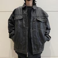 oversized coating denim zip jacket