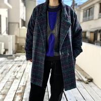 80s oversized check design wool jacket