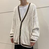 90s ramie × cotton knit cardigan