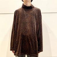 90s~ leopard patterned velours turtle neck cut&sew