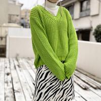 80s〜 short&wide cotton knit sweater (GRN)
