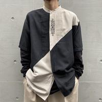 90s bi-color design band collar shirt