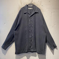90s open collar silk shirt