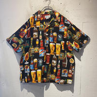 90s  beer pattern S/S shirt